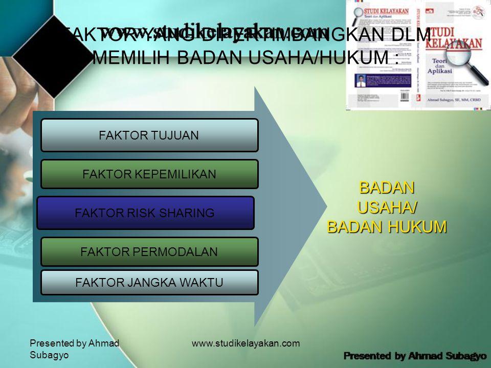 Presented by Ahmad Subagyo www.studikelayakan.com FAKTOR YANG DIPERTIMBANGKAN DLM MEMILIH BADAN USAHA/HUKUM : FAKTOR TUJUAN FAKTOR KEPEMILIKAN FAKTOR RISK SHARING BADAN USAHA/ BADAN HUKUM FAKTOR PERMODALAN FAKTOR JANGKA WAKTU
