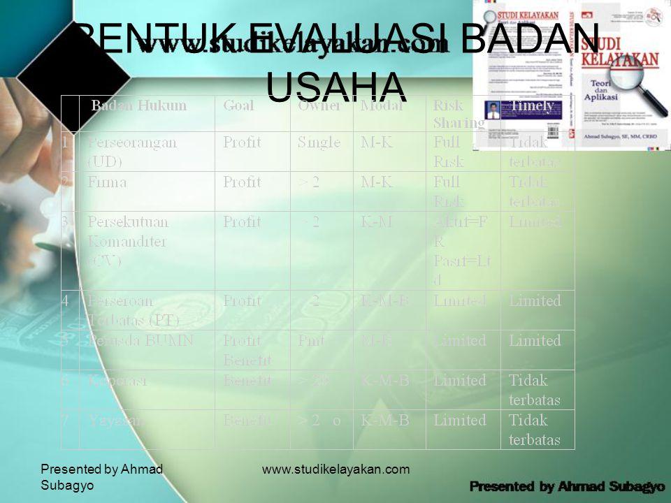 Presented by Ahmad Subagyo www.studikelayakan.com BENTUK EVALUASI BADAN USAHA