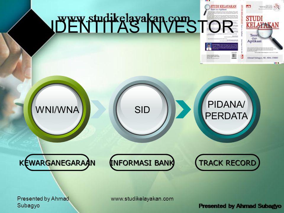 Presented by Ahmad Subagyo www.studikelayakan.com IDENTITAS INVESTOR KEWARGANEGARAAN INFORMASI BANK TRACK RECORD WNI/WNASID PIDANA/ PERDATA