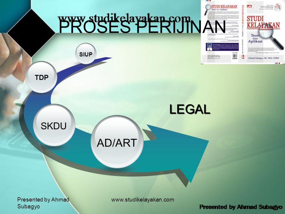 Presented by Ahmad Subagyo www.studikelayakan.com PROSES PERIJINAN SIUP TDP SKDU AD/ART LEGAL