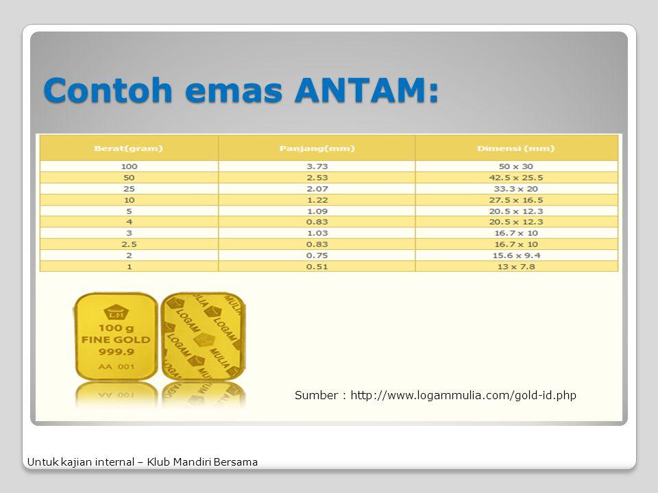Contoh emas ANTAM: Untuk kajian internal – Klub Mandiri Bersama Sumber : http://www.logammulia.com/gold-id.php