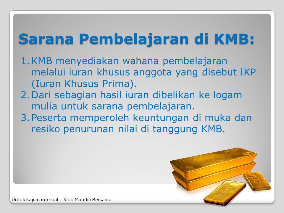 Sarana Pembelajaran di KMB: 1.KMB menyediakan wahana pembelajaran melalui iuran khusus anggota yang disebut IKP (Iuran Khusus Prima). 2.Dari sebagian