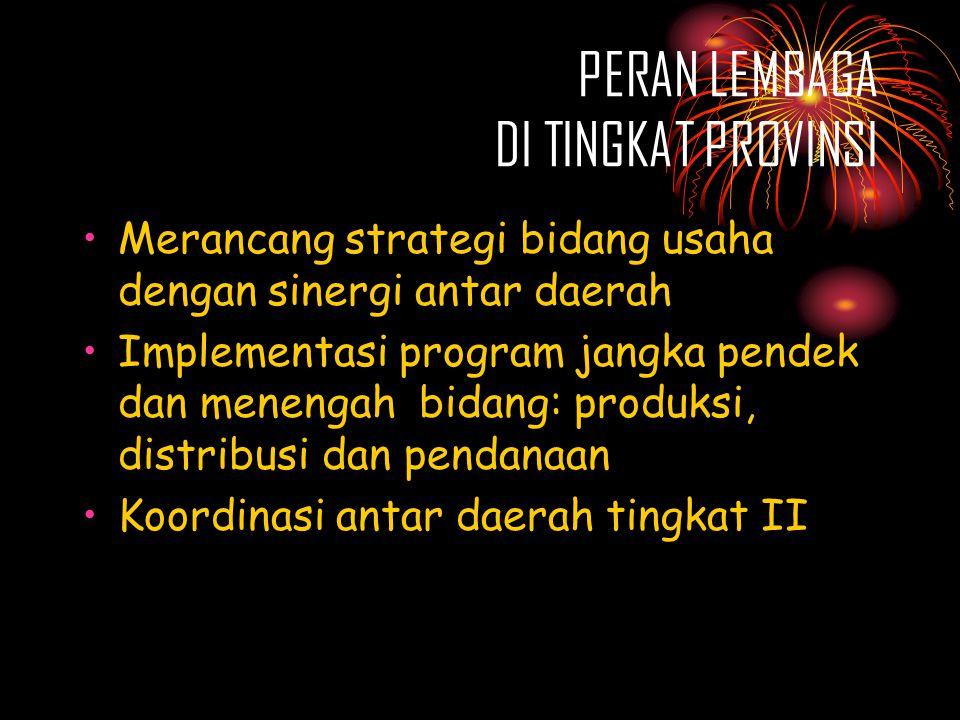 PERAN LEMBAGA DI TINGKAT PROVINSI •Merancang strategi bidang usaha dengan sinergi antar daerah •Implementasi program jangka pendek dan menengah bidang: produksi, distribusi dan pendanaan •Koordinasi antar daerah tingkat II