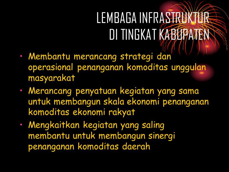 LEMBAGA INFRASTRUKTUR DI TINGKAT KABUPATEN •Membantu merancang strategi dan operasional penanganan komoditas unggulan masyarakat •Merancang penyatuan