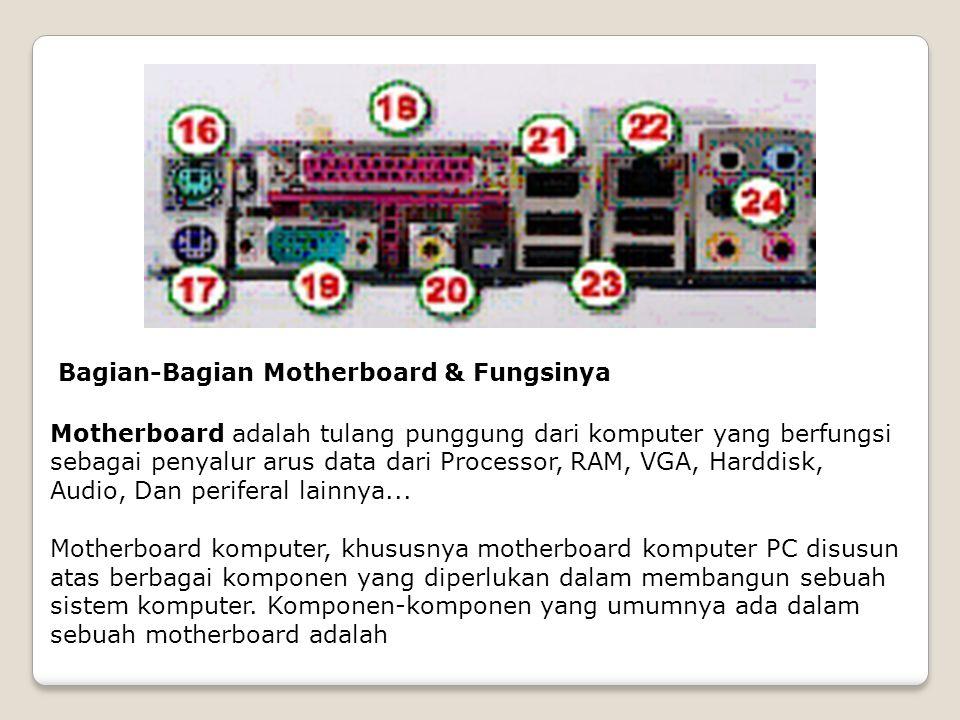 Bagian-Bagian Motherboard & Fungsinya Motherboard komputer, khususnya motherboard komputer PC disusun atas berbagai komponen yang diperlukan dalam mem