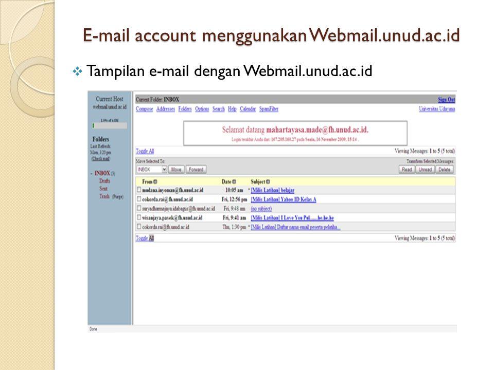 E-mail account menggunakan Webmail.unud.ac.id  Tampilan e-mail dengan Webmail.unud.ac.id