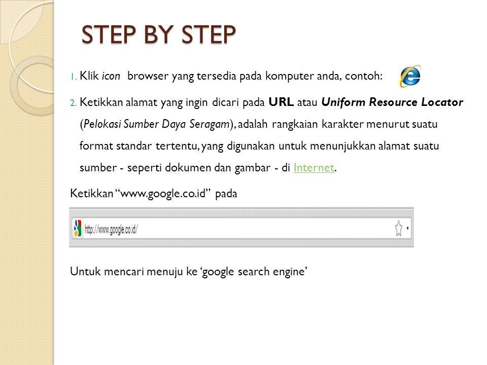 STEP BY STEP 1. Klik icon browser yang tersedia pada komputer anda, contoh: 2.