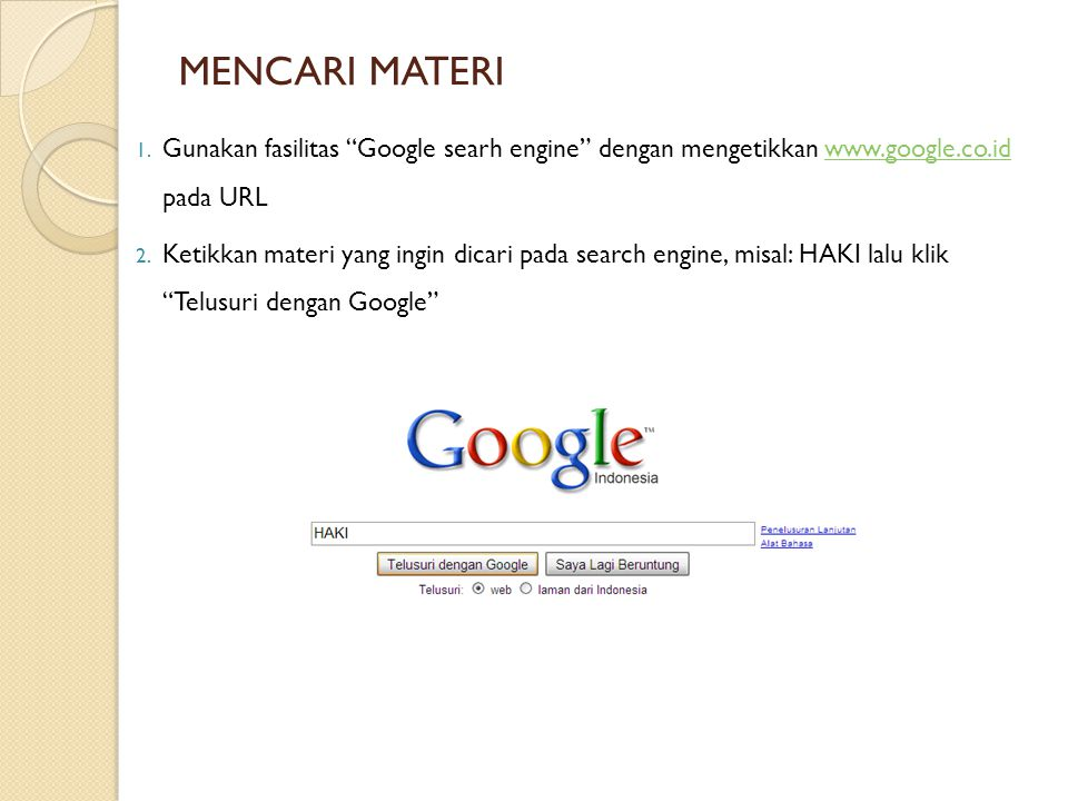 MENCARI MATERI 3.Pilih materi yang ingin dicari, jika file: a.