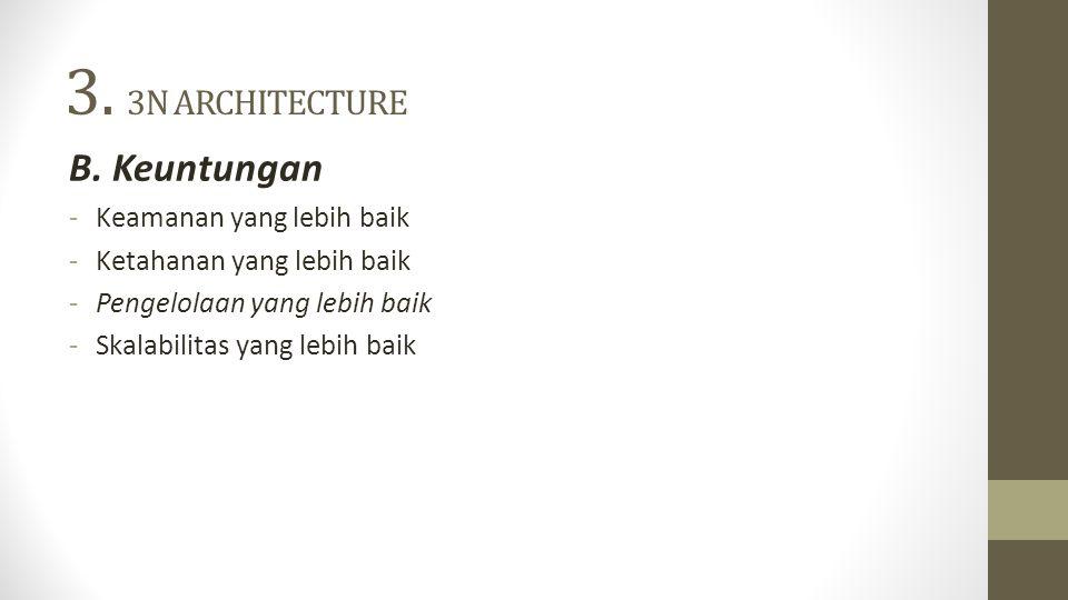 3. 3N ARCHITECTURE B. Keuntungan -Keamanan yang lebih baik -Ketahanan yang lebih baik -Pengelolaan yang lebih baik -Skalabilitas yang lebih baik