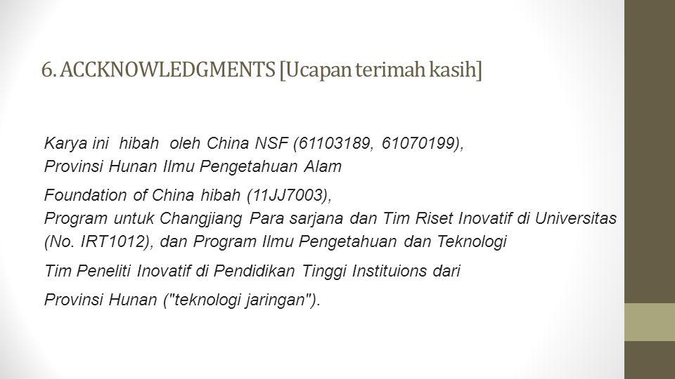 6. ACCKNOWLEDGMENTS [Ucapan terimah kasih] Karya ini hibah oleh China NSF (61103189, 61070199), Provinsi Hunan Ilmu Pengetahuan Alam Foundation of Chi