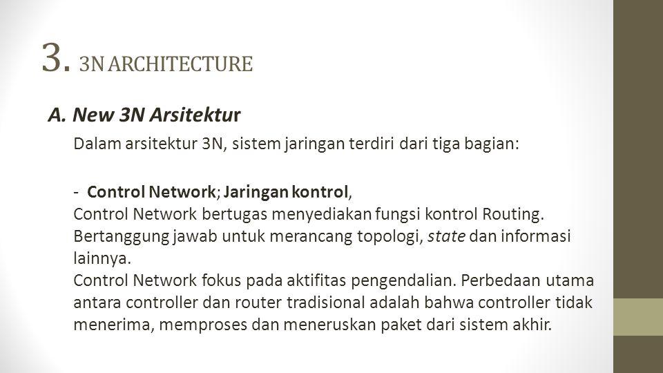 3. 3N ARCHITECTURE A. New 3N Arsitektur Dalam arsitektur 3N, sistem jaringan terdiri dari tiga bagian: - Control Network; Jaringan kontrol, Control Ne