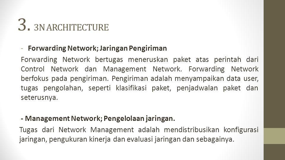 3. 3N ARCHITECTURE -Forwarding Network; Jaringan Pengiriman Forwarding Network bertugas meneruskan paket atas perintah dari Control Network dan Manage