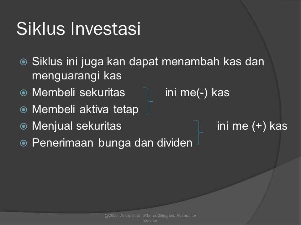 Siklus Investasi  Siklus ini juga kan dapat menambah kas dan menguarangi kas  Membeli sekuritas ini me(-) kas  Membeli aktiva tetap  Menjual sekur