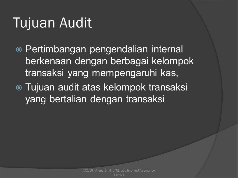 Tujuan Audit  Pertimbangan pengendalian internal berkenaan dengan berbagai kelompok transaksi yang mempengaruhi kas,  Tujuan audit atas kelompok tra