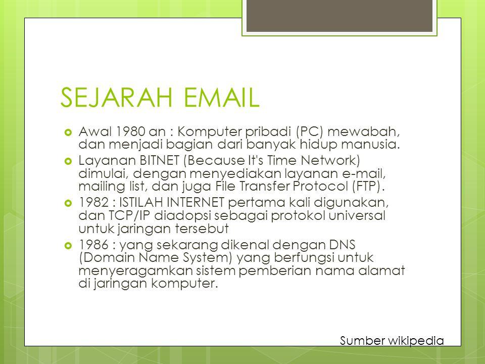 SEJARAH EMAIL  Awal 1980 an : Komputer pribadi (PC) mewabah, dan menjadi bagian dari banyak hidup manusia.  Layanan BITNET (Because It's Time Networ