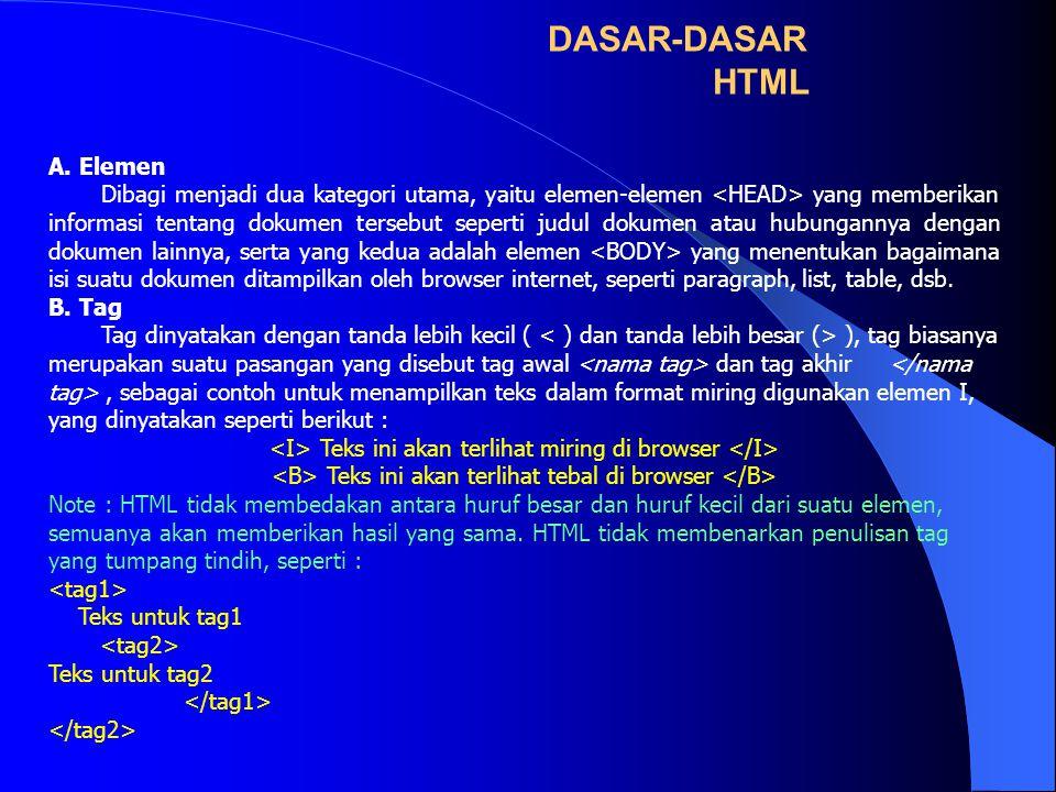 DASAR-DASAR HTML A. Elemen Dibagi menjadi dua kategori utama, yaitu elemen-elemen yang memberikan informasi tentang dokumen tersebut seperti judul dok