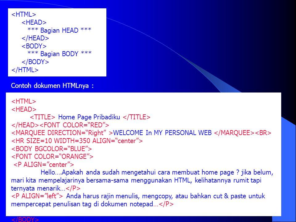 *** Bagian HEAD *** *** Bagian BODY *** Contoh dokumen HTMLnya : Home Page Pribadiku WELCOME In MY PERSONAL WEB Hello….Apakah anda sudah mengetahui ca