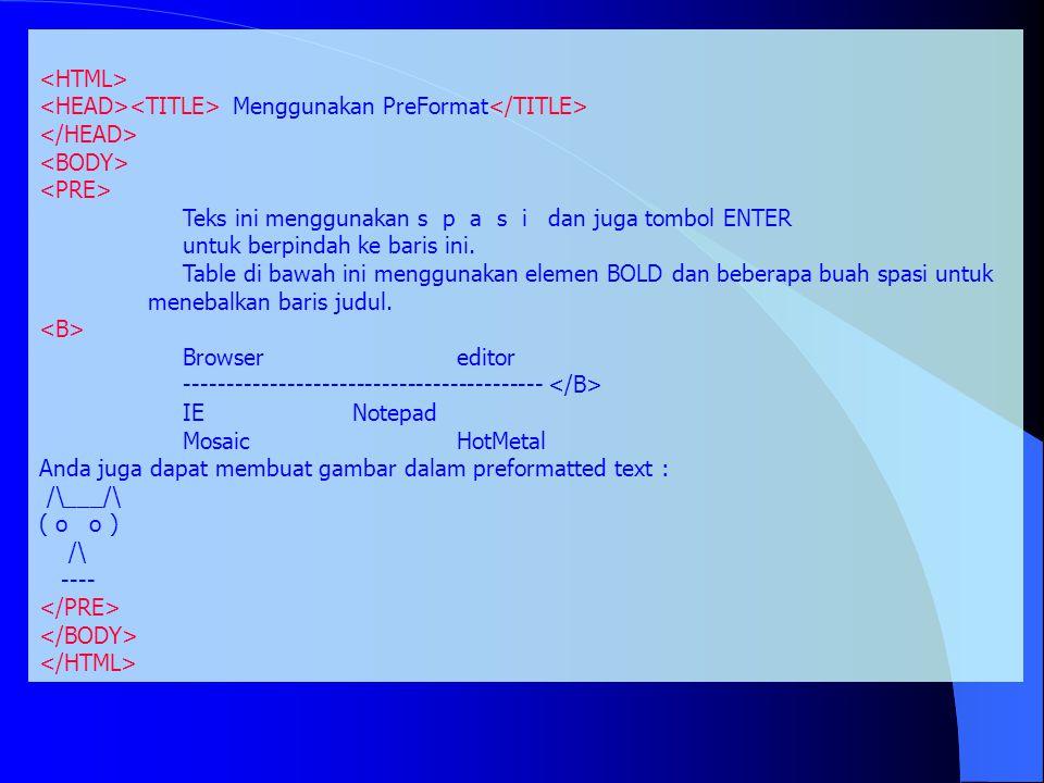 Menggunakan PreFormat Teks ini menggunakan s p a s i dan juga tombol ENTER untuk berpindah ke baris ini. Table di bawah ini menggunakan elemen BOLD da