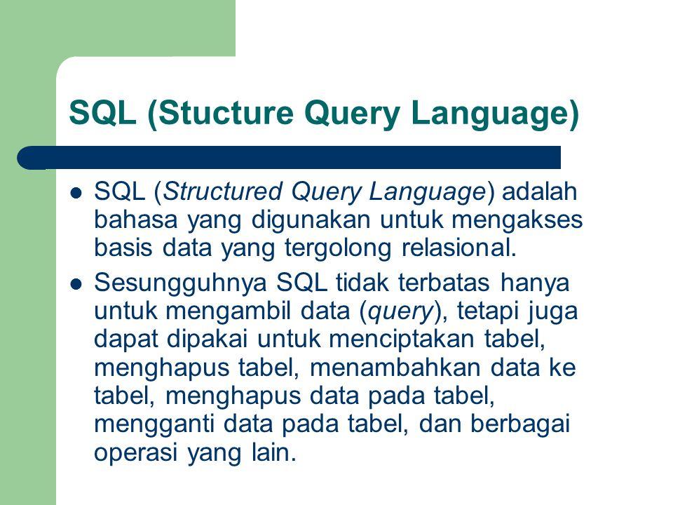 SQL (Stucture Query Language)  SQL (Structured Query Language) adalah bahasa yang digunakan untuk mengakses basis data yang tergolong relasional.