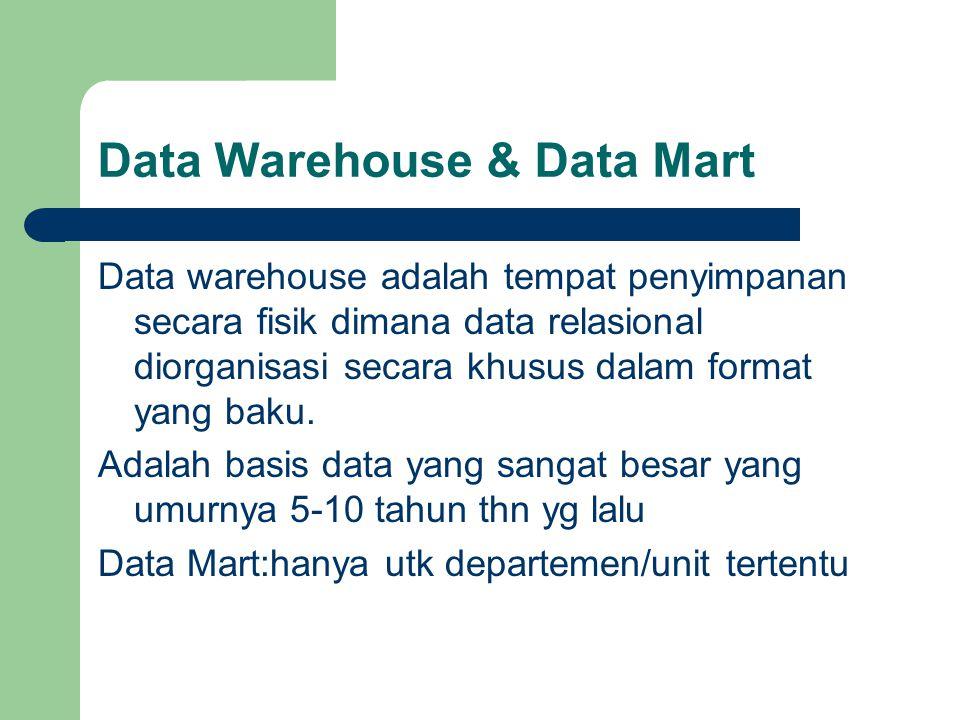 Data Warehouse & Data Mart Data warehouse adalah tempat penyimpanan secara fisik dimana data relasional diorganisasi secara khusus dalam format yang baku.