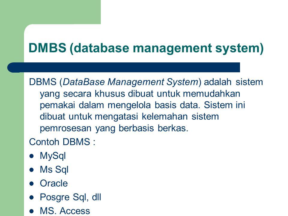 Struktur Data dan Basis Data Data disusun dalam suatu struktur logis, yaitu :  kumpulan tabel menyusun basis data,  tabel tersusun atas sejumlah record,  sebuah record mengandung sejumlah field,  sebuah feld disimpan dalam bentuk kumpulan bit.