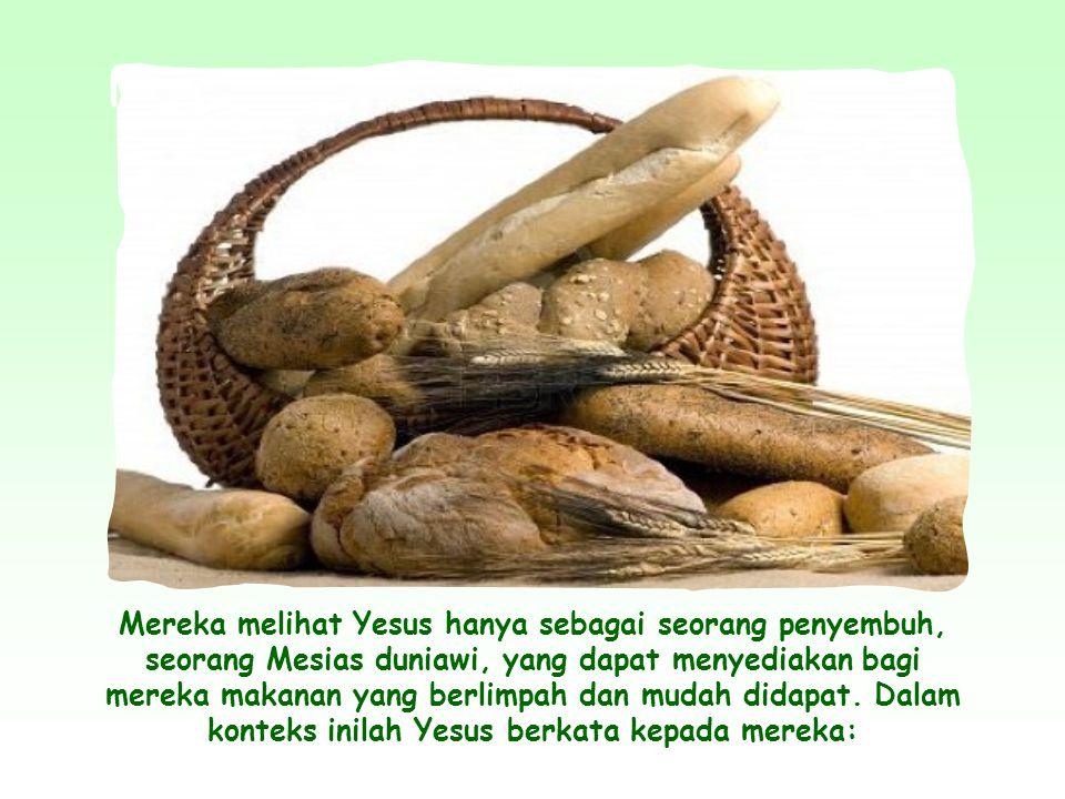 Mereka melihat Yesus hanya sebagai seorang penyembuh, seorang Mesias duniawi, yang dapat menyediakan bagi mereka makanan yang berlimpah dan mudah didapat.