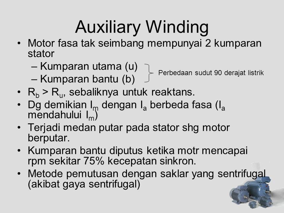 Auxiliary Winding •Motor fasa tak seimbang mempunyai 2 kumparan stator –Kumparan utama (u) –Kumparan bantu (b) •R b > R u, sebaliknya untuk reaktans.