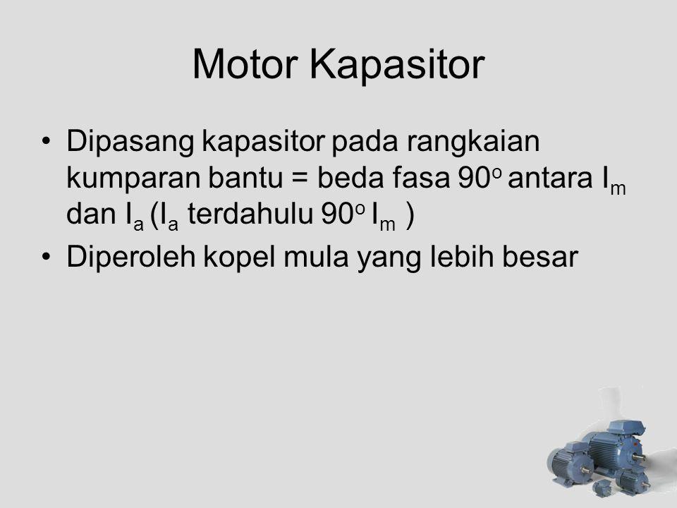 Motor Kapasitor •Dipasang kapasitor pada rangkaian kumparan bantu = beda fasa 90 o antara I m dan I a (I a terdahulu 90 o I m ) •Diperoleh kopel mula