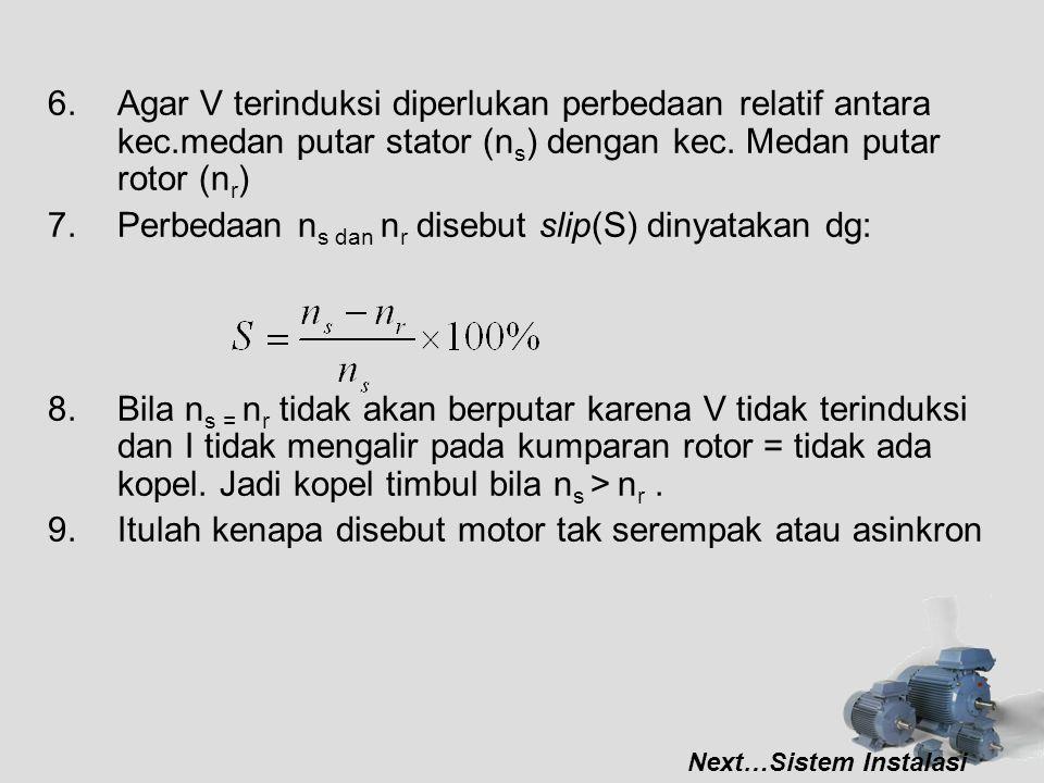 6.Agar V terinduksi diperlukan perbedaan relatif antara kec.medan putar stator (n s ) dengan kec. Medan putar rotor (n r ) 7.Perbedaan n s dan n r dis