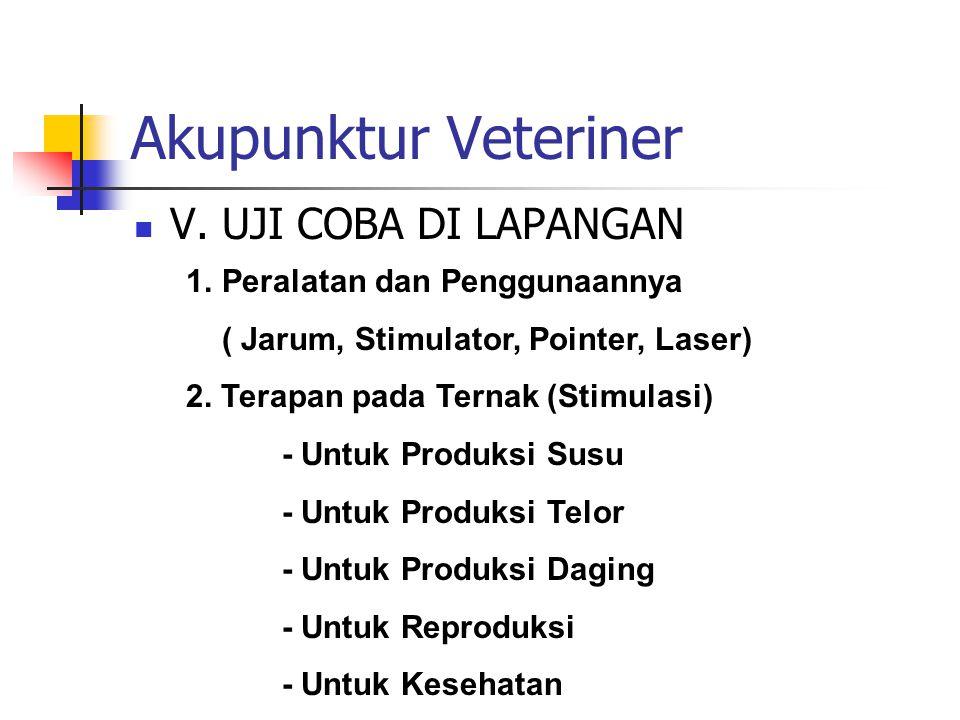 Akupunktur Veteriner  V.UJI COBA DI LAPANGAN 3.
