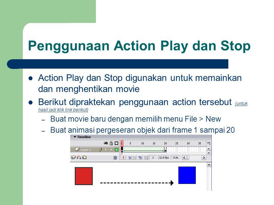 Penggunaan Action Play dan Stop  Action Play dan Stop digunakan untuk memainkan dan menghentikan movie  Berikut dipraktekan penggunaan action terseb