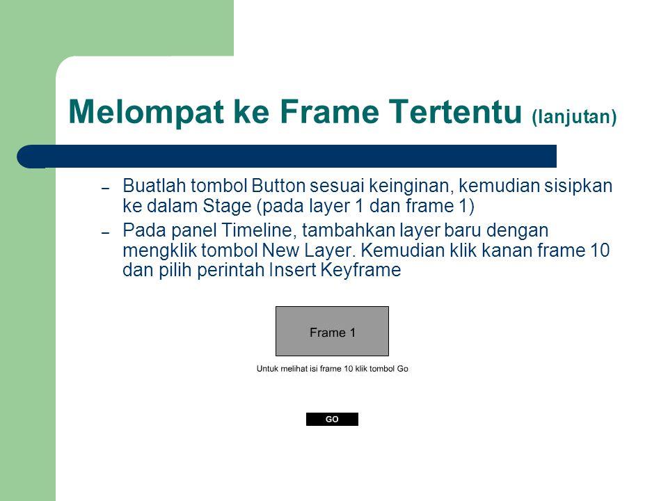 Melompat ke Frame Tertentu (lanjutan) – Buatlah tombol Button sesuai keinginan, kemudian sisipkan ke dalam Stage (pada layer 1 dan frame 1) – Pada pan