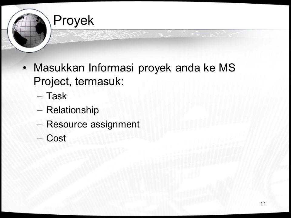 11 Proyek •Masukkan Informasi proyek anda ke MS Project, termasuk: –Task –Relationship –Resource assignment –Cost