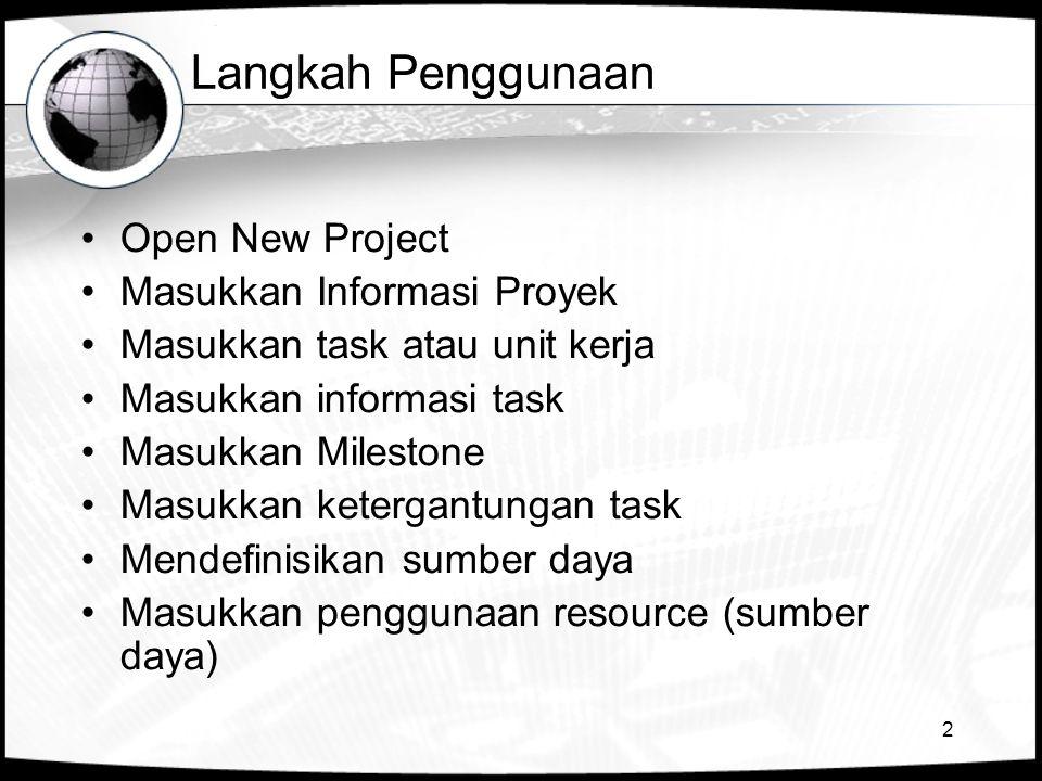 2 Langkah Penggunaan •Open New Project •Masukkan Informasi Proyek •Masukkan task atau unit kerja •Masukkan informasi task •Masukkan Milestone •Masukkan ketergantungan task •Mendefinisikan sumber daya •Masukkan penggunaan resource (sumber daya)