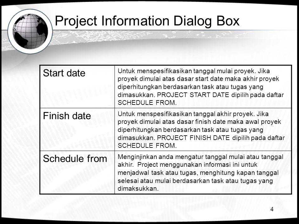 4 Project Information Dialog Box Start date Untuk menspesifikasikan tanggal mulai proyek.