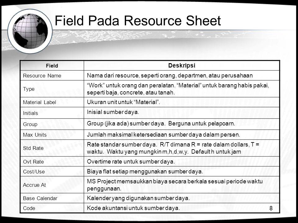 8 Field Pada Resource Sheet Field Deskripsi Resource Name Nama dari resource, seperti orang, departmen, atau perusahaan Type Work untuk orang dan peralatan.