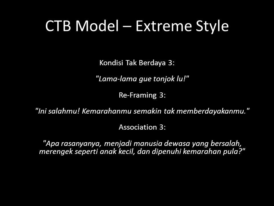 CTB Model – Extreme Style Kondisi Tak Berdaya 3: Lama-lama gue tonjok lu! Re-Framing 3: Ini salahmu.