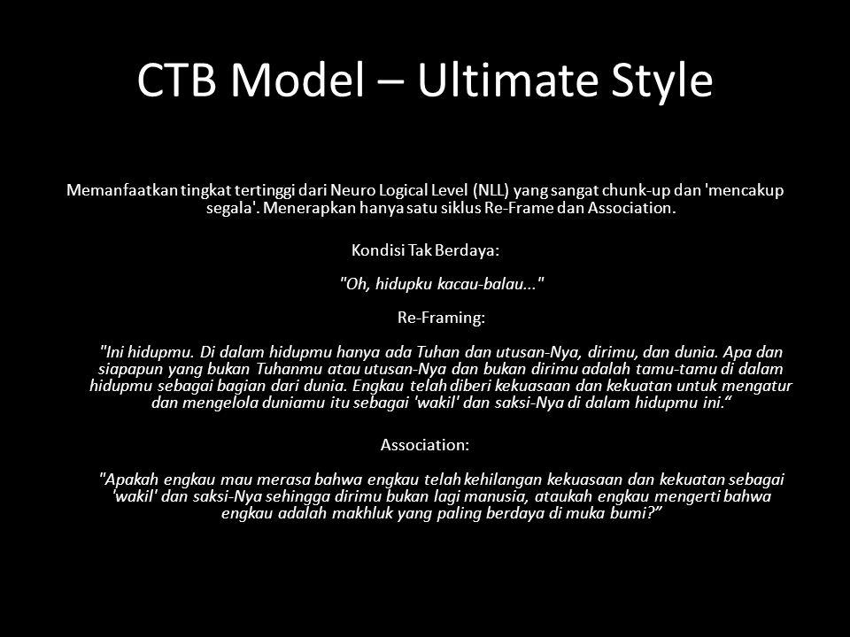 CTB Model – Ultimate Style Memanfaatkan tingkat tertinggi dari Neuro Logical Level (NLL) yang sangat chunk-up dan mencakup segala .