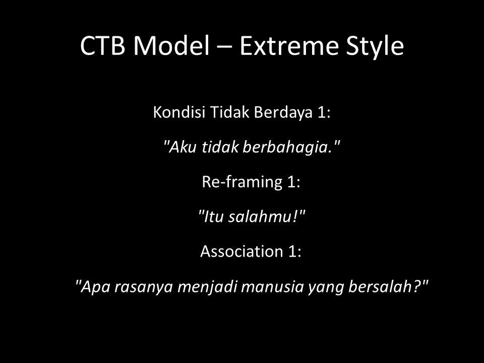 CTB Model – Extreme Style Kondisi Tidak Berdaya 1: Aku tidak berbahagia. Re-framing 1: Itu salahmu! Association 1: Apa rasanya menjadi manusia yang bersalah