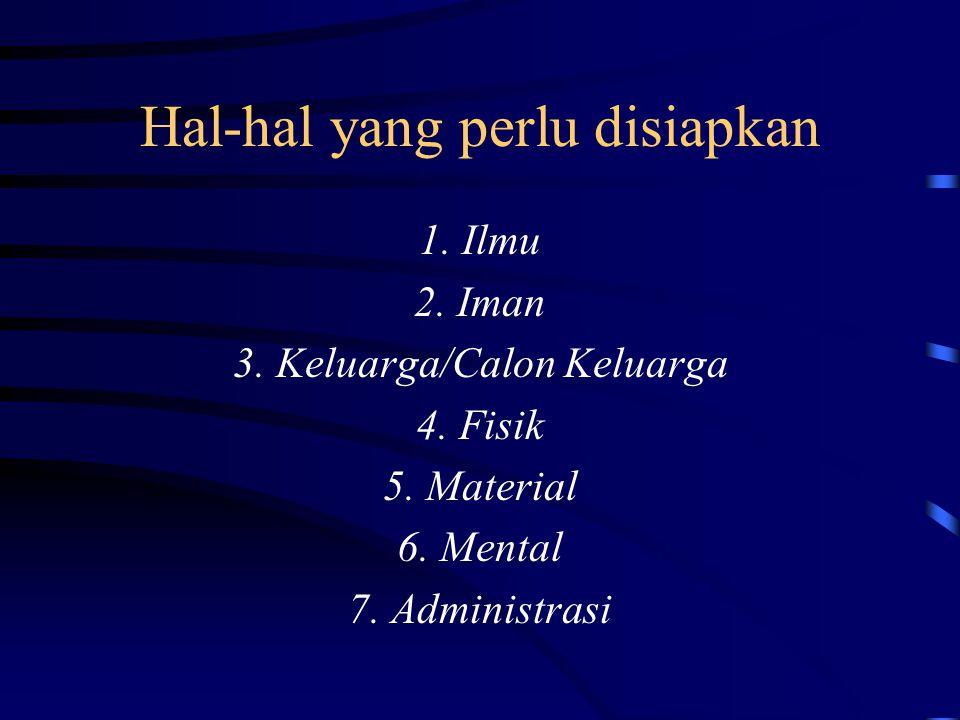 Hal-hal yang perlu disiapkan 1. Ilmu 2. Iman 3. Keluarga/Calon Keluarga 4. Fisik 5. Material 6. Mental 7. Administrasi