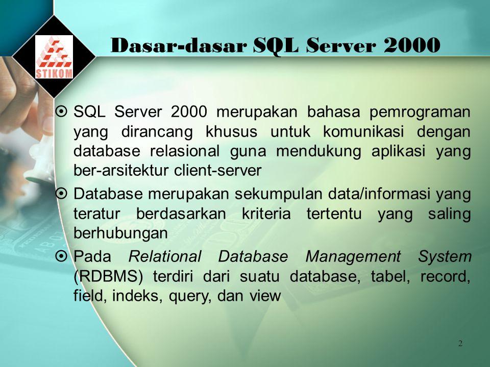 2 Dasar-dasar SQL Server 2000  SQL Server 2000 merupakan bahasa pemrograman yang dirancang khusus untuk komunikasi dengan database relasional guna mendukung aplikasi yang ber-arsitektur client-server  Database merupakan sekumpulan data/informasi yang teratur berdasarkan kriteria tertentu yang saling berhubungan  Pada Relational Database Management System (RDBMS) terdiri dari suatu database, tabel, record, field, indeks, query, dan view