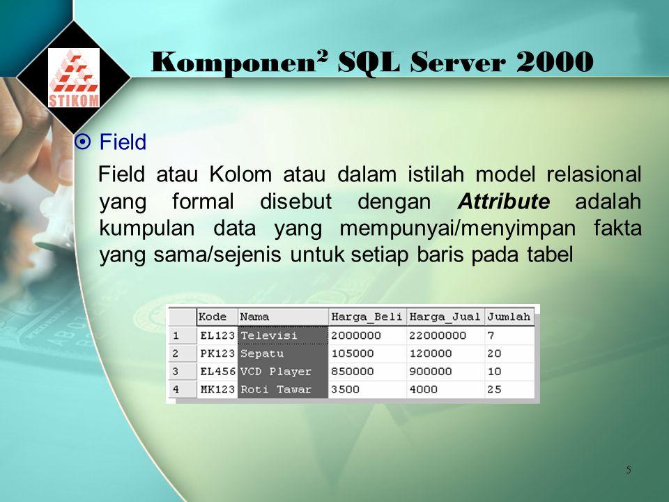 5 Komponen 2 SQL Server 2000  Field Field atau Kolom atau dalam istilah model relasional yang formal disebut dengan Attribute adalah kumpulan data yang mempunyai/menyimpan fakta yang sama/sejenis untuk setiap baris pada tabel