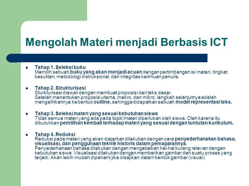 Mengolah Materi menjadi Berbasis ICT  Tahap 1. Seleksi buku Memilih sebuah buku yang akan menjadi acuan dengan pertimbangan isi materi, tingkat kesul