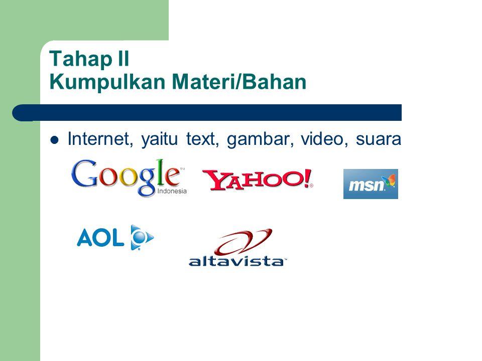 Tahap II Kumpulkan Materi/Bahan  Internet, yaitu text, gambar, video, suara