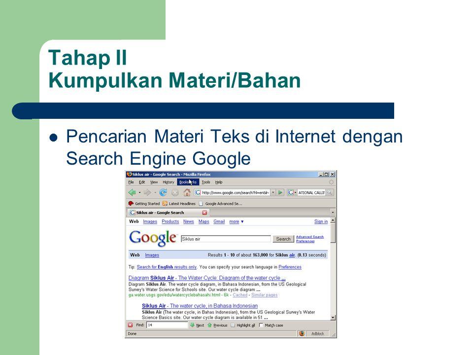 Tahap II Kumpulkan Materi/Bahan  Pencarian Materi Teks di Internet dengan Search Engine Google