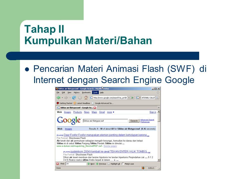 Tahap II Kumpulkan Materi/Bahan  Pencarian Materi Animasi Flash (SWF) di Internet dengan Search Engine Google