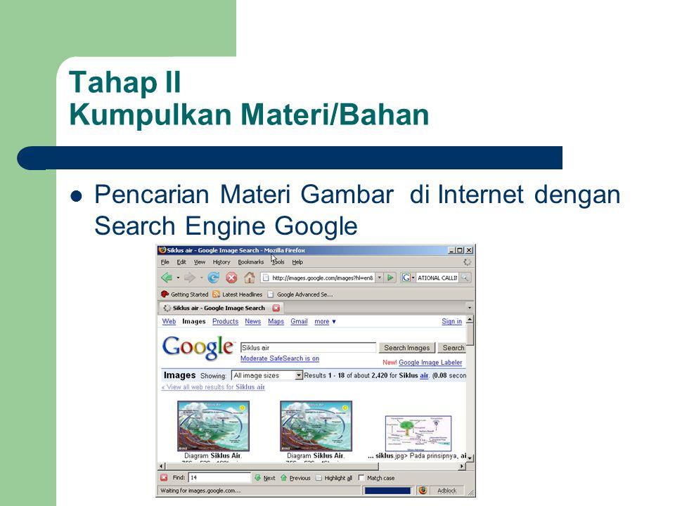 Tahap II Kumpulkan Materi/Bahan  Pencarian Materi Gambar di Internet dengan Search Engine Google