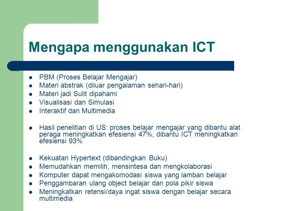 Mengapa menggunakan ICT  PBM (Proses Belajar Mengajar)  Materi abstrak (diluar pengalaman sehari-hari)  Materi jadi Sulit dipahami  Visualisasi da