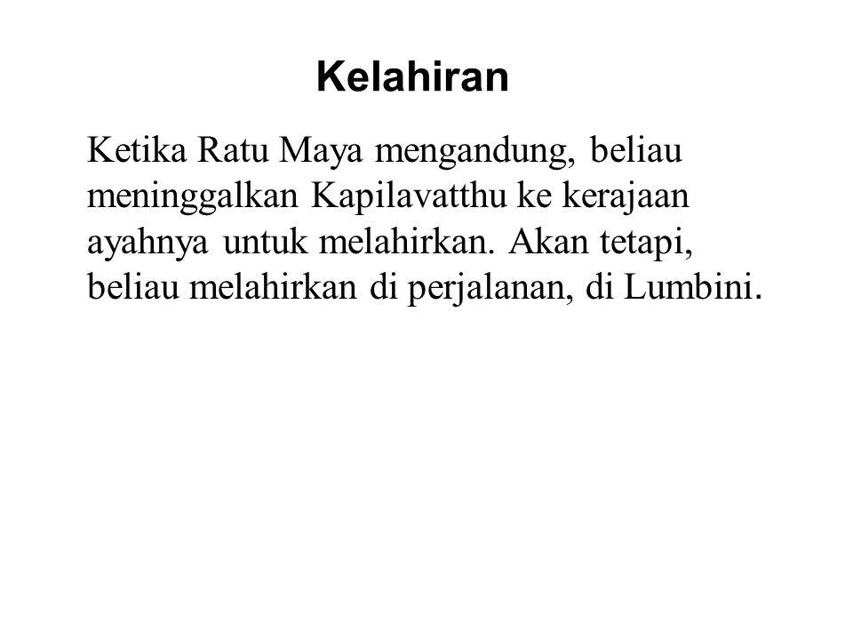 Kelahiran Ketika Ratu Maya mengandung, beliau meninggalkan Kapilavatthu ke kerajaan ayahnya untuk melahirkan. Akan tetapi, beliau melahirkan di perjal
