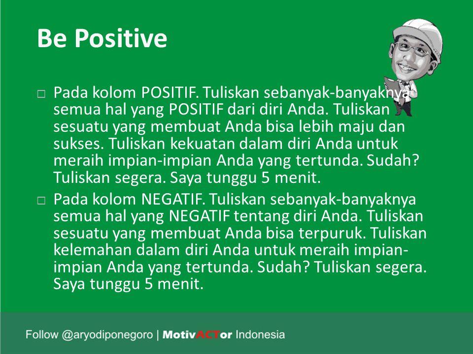 Be Positive  Pada kolom POSITIF.